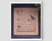 Salem Sisters 1 : Plum Street Samplers counted cross stitch patterns Halloween Beggar's Night October Autumn embroidery The Cottage Needle