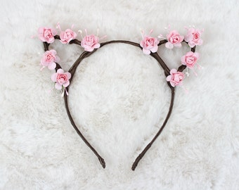 Pink Floral Crown Cat Ears - Flower Cat Headband - Cat Ears Headband - Kitty Ears -  Halloween - Kitten play Ears - Petplay