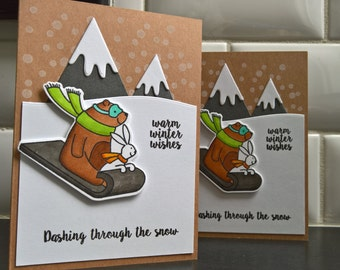 Handmade Christmas Card Set of 2, Holiday Card Set, Dashing Through the Snow, Bear Cards, Sled Cards, Mountain Cards