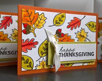Watercolor Thanksgiving Cards Set of 3, Happy Thanksgiving Cards, Autumn Cards, Fall Greeting Cards