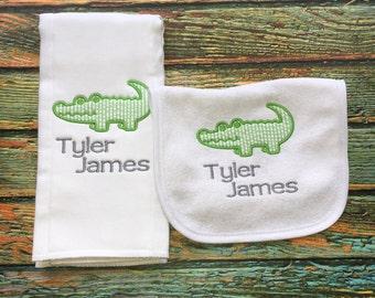 Alligator Baby Bib, Baby Boy Gift Set, Alligator Baby Shower