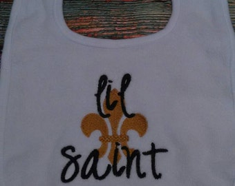 Lil Saint Bib, baby bib, saints bib, new Orleans baby bib