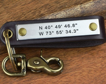 Deep Engraved Latitude Longitude Leather Keychain Or ANY TEXT up to 40 Char - Great Anniversary Gift For Men - Hand Crafted in USA