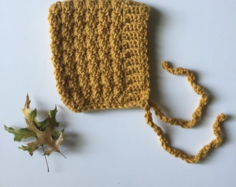 BELL - crochet baby pixie bonnet - sungold - Made to Order