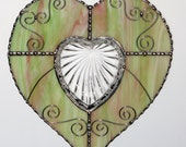 Stained Glass - Heart with Crystal Heart Trinket Dish, Valentine Heart, Valentine's Day Gift