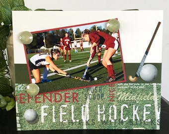 "Chicks with Sticks Field Hockey girl Player Coach custom Team mom dad gift handmade magnetic picture frame holds 5"" x 7"" photo 9"" x 11"" size"