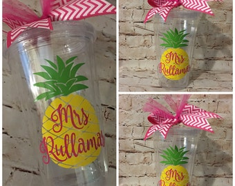Personalized Pineapple Tumbler - Summer Fun - Mother's Day Gift - Camping Fun - Fruit Tumbler - Destination Wedding
