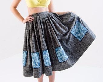 1950's Black Floral Circle Skirt/ 50's Full Skirt/ Square Dance Skirt