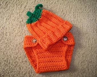 Crocheted Pumpkin Baby Set