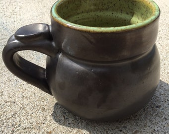 Metallic gray and lime gray mug