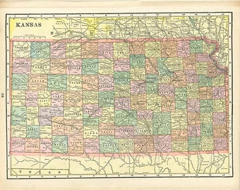 KANSAS and NEBRASKA  U.S.A. STATE Maps from 'The Home Knowledge Atlas' Original Double-Sided Book Page