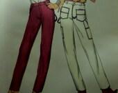 "1980's High Waist Straight Leg Carpenter Style Pants Pattern Butterick 3109 Miss 12 Hip 36"". 80's CARPENTER PANTS Pattern at WhiletheCatNaps"