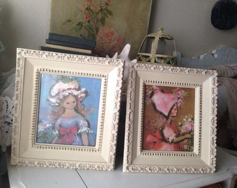Pair of Vintage Shabby Cream Gold Ornate Picture Frames
