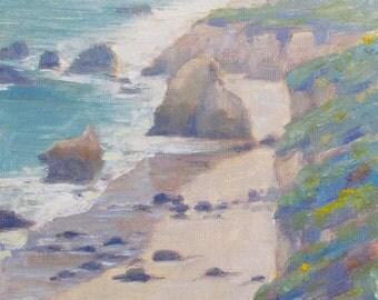 Plein Air Painting of a rainy spring day at El Matador Beach in Malibu, California