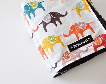 baby blanket, colorful elephants and ash bubble dot minky