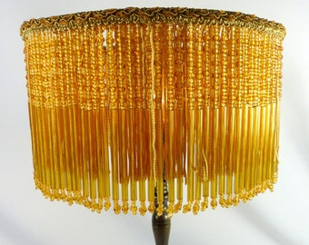 Table Lampshades Custom Amber Glass Beads With Chenille Trim Vintage Frame