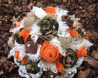 Camo and Orange Burlap and Lace Bridal Bouquet, Fabric Bouquet Rustic, Hunting, Camouflage Wedding Bouquet, Bridesmaid Bouquets