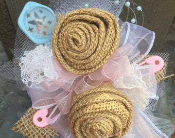 Burlap and Lace, baby gender reveal party corsage