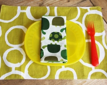 Placemat and Napkin Set for Kids  - Turtles Napkin with a Green Freehand Circles Placemat