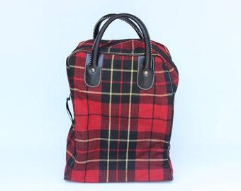Vintage Black and Red Plaid Picnic Travel Bag