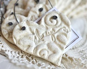 Valentine Imprinted Always Wedding Heart Napkin Rings Salt Dough Ornaments Wholesale Set of 10