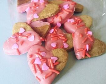 Mini Peanut Butter & Jelly hearts with Yogurt coating - All Natural Dog Treats - 2 Dozen Heart Shaped Treats