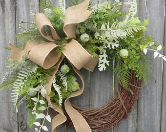 Everyday Wreath - Wreath Great for All Year Round - Everyday Burlap Wreath, Door Wreath, Front Door Wreath, Housewarming Gift