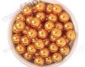 16mm - Pearl Metallic Orange Gumball Beads, Chunky Pearl Beads, 16mm Pearl Beads, Pearl Gumball Beads, Bubble Gum Beads, 2MM Hole