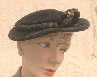 Black velvet hat Noreen Fashions Vintage Winter Style