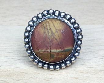 Sterling Silver & Grand Canyon Picasso Jasper Solitare Statement Ring size 7
