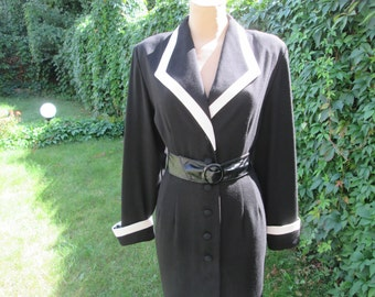 Black Dress / Buttoned Dress / Office Dress / Black Buttoned Dress / Pencil Dress / Buttoned Pencil Dress / Size EUR40 / 42 / UK12 / 14
