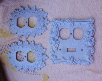 Vintage Painted Baby Blue Metal Ornate Electrical Outlet Switch Plate Cover