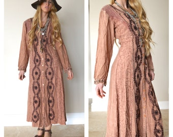 MPH Vintage Hippie Embroidered Dress Festival Maxi Dress Long Button Up Made in India Gypsy Traveler Gypset Boho Hand Dyed Rayon Medium
