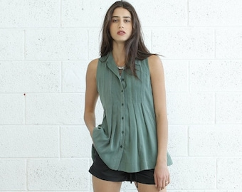 Summer SALE Pleated Tunic Top, Green.