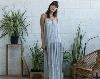 Final Summer Sale Embroidered Maxi Dress, Silver Maxi Dress, Silver Boho Dress, Tank dress.