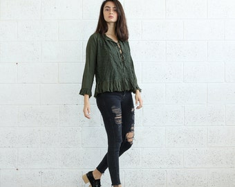 SALE 30% OFF Embroidered Lace Up Shirt, Olive.