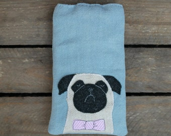 Pug Dog Phone Cover / Glasses / Case / Bowtie / Blue