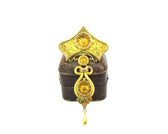 Victorian Brooch. Etruscan Revival 14K 18K Gold Jewelry. Antique Articulated Mid Victorian Grand Period 1800s