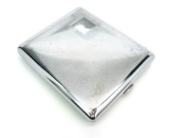 Art Deco Cigarette Case. Metal Cigarette Holder. Made in Austria. Chrome, Fine Diamond Pattern. Business Cards. Vintage 1930s Tobacciana