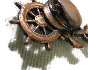 Old vintage copper ship captain pendant finding