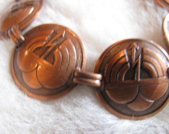 1970s artisan copper penny link bracelet - so unique.