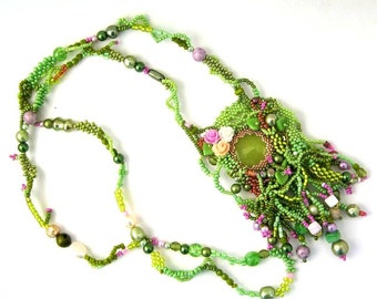 Long Boho Necklace Green beaded necklace Handmade gifts, Beadwork necklace, Gifts for women, One of a kind gift,