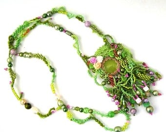 Green jewelry Green necklace Boho jewelry  Beaded jewelry Spring gifts for women Long necklace One of a kind gift Freeform beadwork