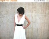 HOT FALL SALE wedding dress, beach wedding, garden wedding boho wedding dress with deep V neck cleavage and jewelry sash