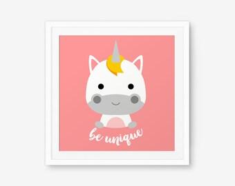 Be Unique Unicorn Square Print, Nursery Art, Nursery decor, Baby Cute Animal Wall Art, Children Animal Art, Kids Room Decor