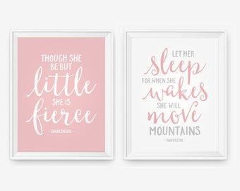 Though she be but little, She is Fierce, Mountains Shakespeare, Let her sleep, Nursery Print, Children Wall Art, Custom Color set of 2