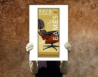 Mid Century Modern Charles Ray Eames Lounge Chair American Design 1956 Wall Deco Decor Print Poster Retro Industrial Art Gothampark Gavron