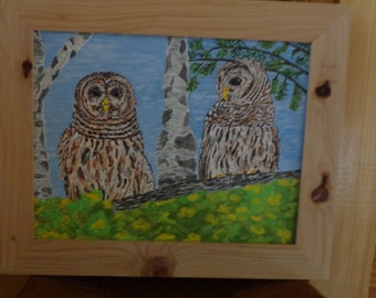 "Pair of Barred Owls Perched on a Limb (11"" x 14"") Painting by the Artist [Framed]/Country/Cabin/Rustic"