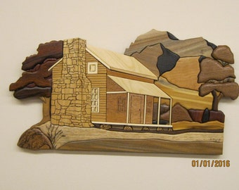Cabin in the Meadows, Intarsia carved by Rakowoods, wood carved gift for birthdays,anniversaries;wall decor for home,cabin.