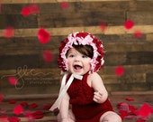 knit Romper, sitter set, Romper and bonnet, knit bonnet, lace bonnet, lace romper  Valentines day romper, Photo prop, Photo set